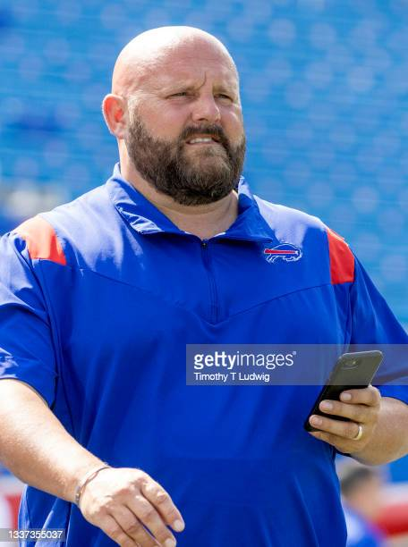 Buffalo Bills offensive coordinator Brian Daboll on the field before a game against the Green Bay Packers at Highmark Stadium on August 28, 2021 in...