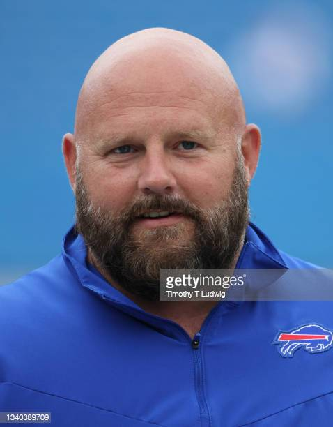 Buffalo Bills offensive coordinator Brian Daboll on the field before a game against the Pittsburgh Steelers at Highmark Stadium on September 12, 2021...