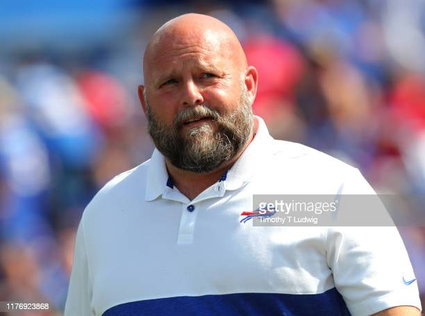 Buffalo Bills offensive coordinator Brian Daboll on the field prior to a game against the Cincinnati Bengals at New Era Field on September 22, 2019...