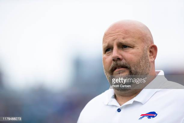 Buffalo Bills offensive coordinator Brian Daboll walks on the field before the game against the Tennessee Titans at Nissan Stadium on October 6, 2019...
