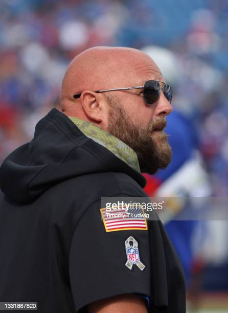 Buffalo Bills offensive coordinator Brian Daboll watches from the field during training camp at Highmark Stadium on July 31, 2021 in Orchard Park,...