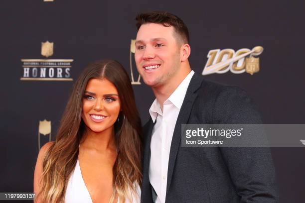 Buffalo Bills quarterback Josh Allen and Brittany Williams pose prior to the NFL Honors on February 1, 2020 at the Adrienne Arsht Center in Miami, FL.