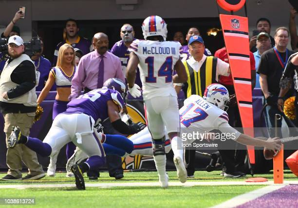 Buffalo Bills Quarterback Josh Allen dives for the end zone and a 1st quarter touchdown during a NFL game between the Minnesota Vikings and Buffalo...