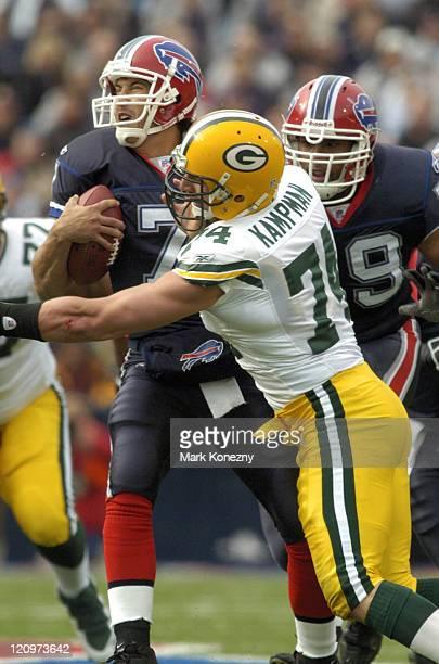 Buffalo Bills quarterback JP Losman is sacked by Green Bay Packers defensive tackle Ryan Pickett at Ralph Wilson Stadium in Orchard Park, New York,...