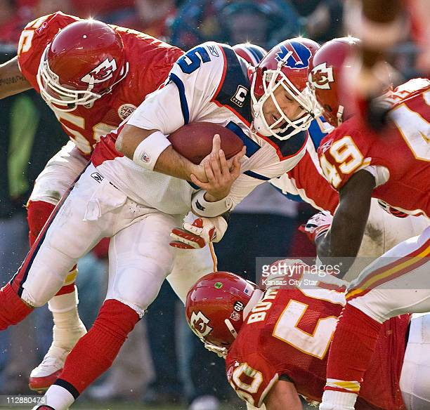Buffalo Bills quarterback Trent Edwards plows into the Kansas City Chiefs defense for a touchdown in the second quarter at Arrowhead Stadium in...