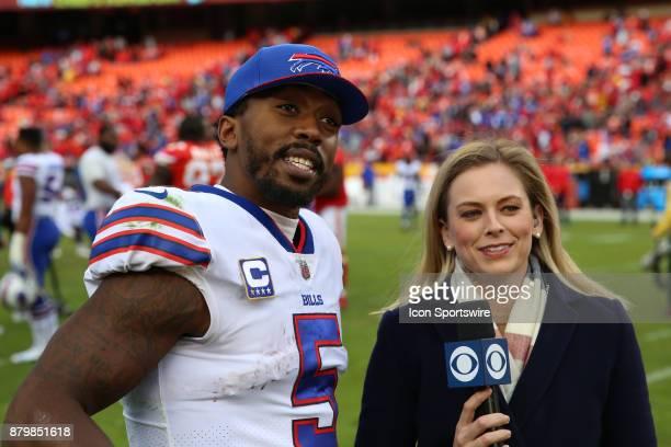 Buffalo Bills quarterback Tyrod Taylor is interviewed by CBS's Jamie Erdahl after a week 12 NFL game between the Buffalo Bills and Kansas City Chiefs...