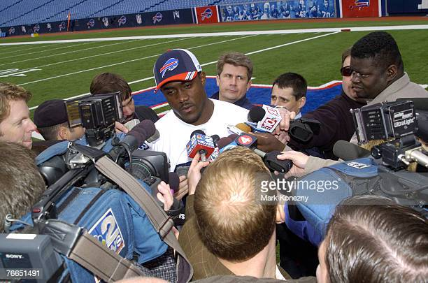 Buffalo Bills rookie tight end Kevin Everett talks with the press after the team's initial minicamp for the 2005 season at Ralph Wilson Stadium in...
