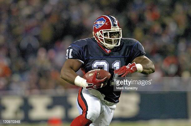 Buffalo Bills running back Daimon Shelton runs for yardage during a game against the Denver Broncos at Ralph Wilson Stadium in Orchard Park, New York...