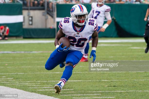 Buffalo Bills Running Back Devin Singletary makes a catch and runs out of bounds during the second half of the game between the Buffalo Bills and the...