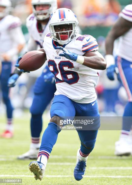 Buffalo Bills Running Back Devin Singletary runs with the ball during the National Football League game between the Buffalo Bills and the New York...
