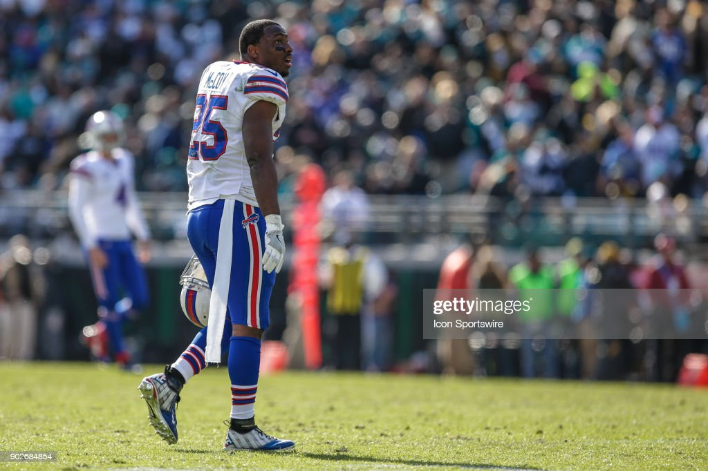 Buffalo Bills running back LeSean McCoy (25) looks on during the AFC Wild Card game between the Buffalo Bills and the Jacksonville Jaguars on January 7, 2018 at EverBank Field in Jacksonville, Fl.