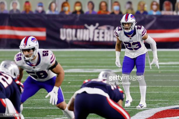 Buffalo Bills safety Micah Hyde waits for a snap during a game between the New England Patriots and the Buffalo Bills on December 28 at Gillette...