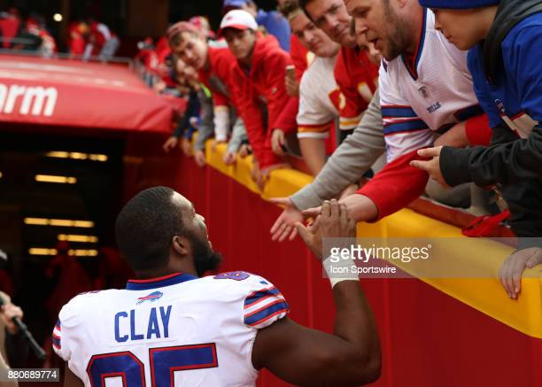 Buffalo Bills tight end Charles Clay shakes hands with fans after a week 12 NFL game between the Buffalo Bills and Kansas City Chiefs on November 26...