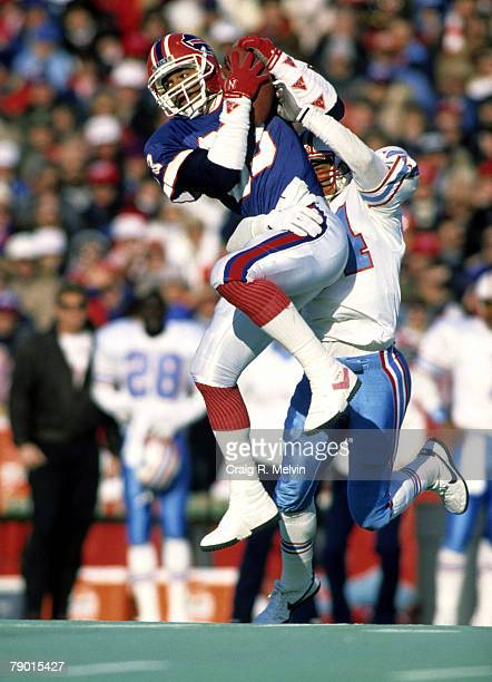 Buffalo Bills wide receiver Andre Reed makes a nice leaping catch during the Bills 1710 victory over the Houston Oilers in the 1988 AFC Divisional...