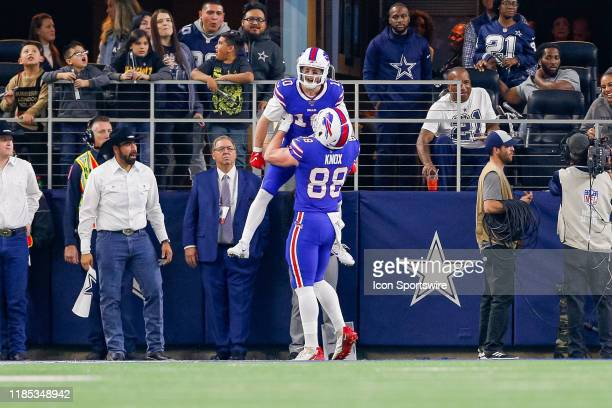 Buffalo Bills Wide Receiver Cole Beasley celebrates his touchdown with teammate Tight End Dawson Knox during the game between the Buffalo Bills and...