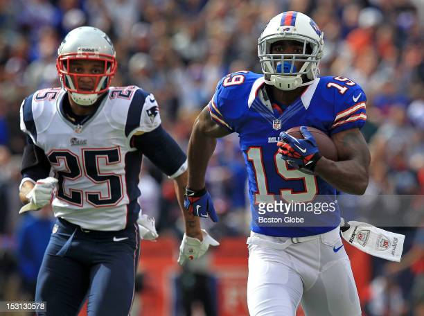 Buffalo Bills wide receiver Donald Jones leaves New England Patriots free safety Patrick Chung in his wake as he runs a 68-yard pass reception for a...