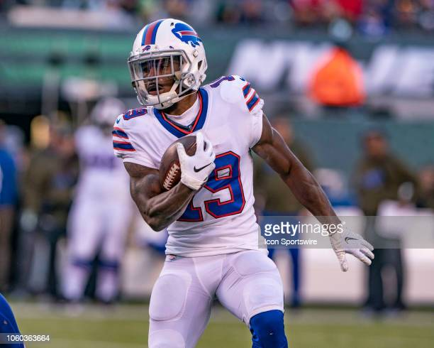 Buffalo Bills Wide Receiver Isaiah McKenzie runs with the ball after a catch during the second half of the Buffalo Bills versus the New York Jets...