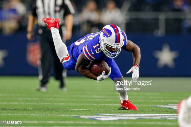 Buffalo Bills Wide Receiver Isaiah McKenzie stumbles after making a reception during the game between the Buffalo Bills and Dallas Cowboys on...