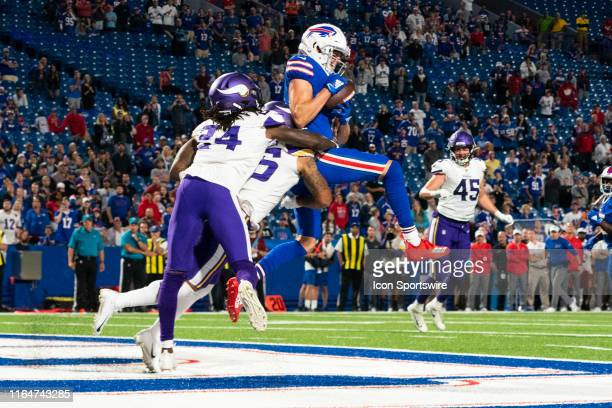 Buffalo Bills Wide Reciever David Sills V catches the winning touchdown pass with Minnesota Vikings Cornerback Holton Hill and Minnesota Vikings...