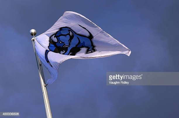 Buffalo Bulls flutters in the wind prior to kickoff of the Baylor Bears and the Buffalo Bulls at UB Stadium on September 12 2014 in Buffalo New York