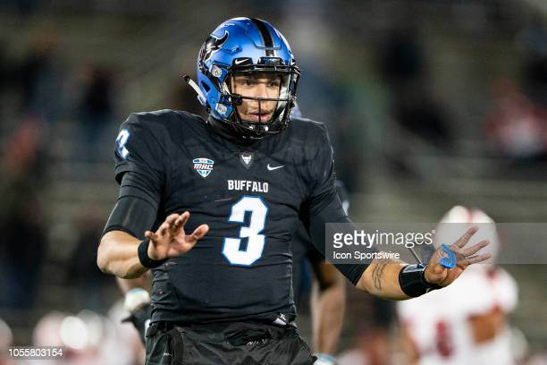 Buffalo Bulls Quarterback Tyree Jackson gesture to the sidelines during the fourth quarter of the Miami OH Redhawks versus the Buffalo Bulls game on...