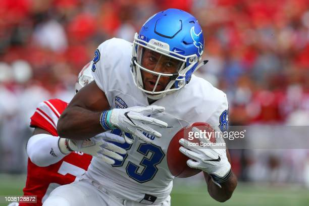 Buffalo Bulls wide receiver Anthony Johnson makes a catch during the College Football game between the Rutgers Scarlet Knights and the Buffalo Bulls...