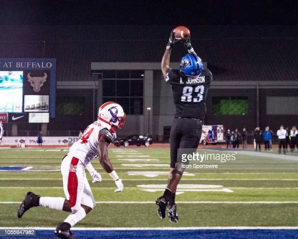 Buffalo Bulls Wide Receiver Anthony Johnson makes a catch for a touchdown during the second half of the Miami OH Redhawks versus the Buffalo Bulls...