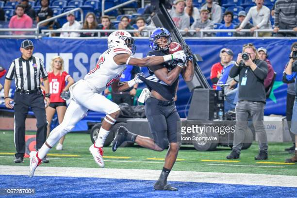 Buffalo Bulls wide receiver Anthony Johnson makes a touchdown catch over Northern Illinois Huskies safety Adam Buirge during the Northern Illinois...