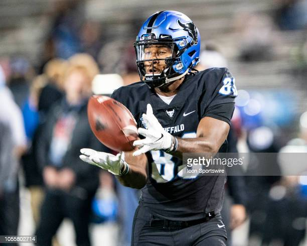 Buffalo Bulls Wide Receiver Anthony Johnson warms up prior to the Miami OH Redhawks versus the Buffalo Bulls game on October 30 at UB Stadium in...