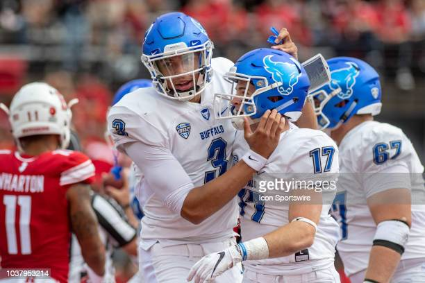 Buffalo Bulls wide receiver Charlie Jones celebrates a long touchdown reception with quarterback Tyree Jackson during the second quarter of the...
