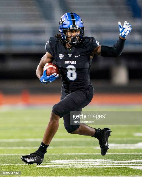 Buffalo Bulls Wide Receiver KJ Osborn runs with the ball after a catch during the fourth quarter of the Miami OH Redhawks versus the Buffalo Bulls...