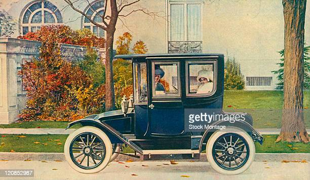 A Buffalo electric automobile is shown in a picture that appeared in a magazine advertisement from 1913 Two women are seated inside the car The...