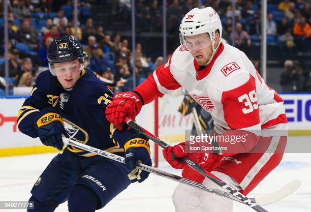 Buffalo Sabres center Casey Mittelstadt checks Detroit Red Wings right wing Anthony Mantha during an NHL game between the Detroit Red Wings and...