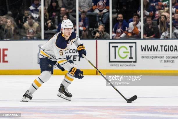Buffalo Sabres Center Jack Eichel skates with the puck during a regular season NHL game between the Buffalo Sabres and the New York Islanders on...