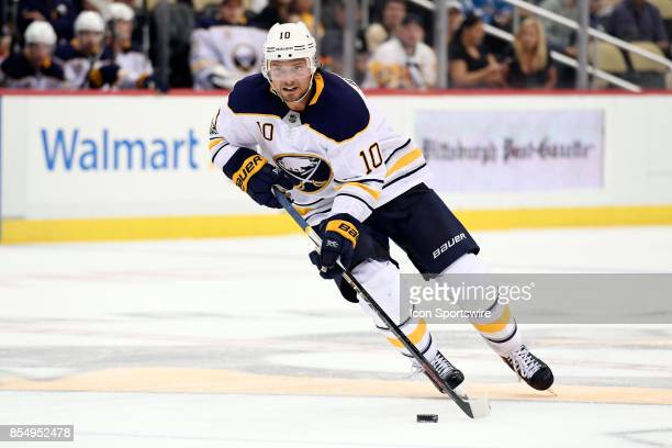 Buffalo Sabres center Jacob Josefson carriers the puck through the neutral zone during the third period in the NHL preseason game between the...