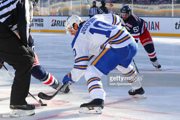 Buffalo Sabres center Jacob Josefson faces off during the 2018 Winter Classic between the New York Rangers and the Buffalo Sabres on January 1 at...