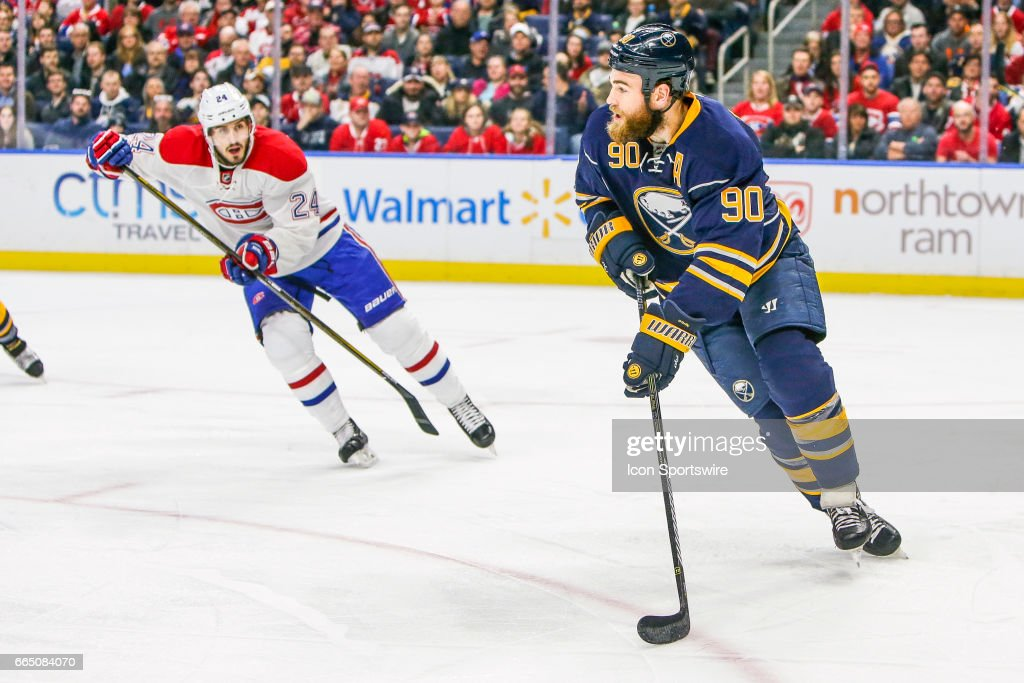 Buffalo Sabres Center Ryan O'Reilly (90) looks to pass as Montreal Canadiens Center Phillip Danault (24) defends during the Montreal Canadiens and Buffalo Sabres NHL game on April 5, 2017, at KeyBank Center in Buffalo, NY (Photo by John Crouch/Icon Sportswire via Getty Images).