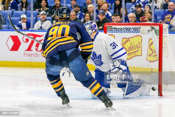 Buffalo Sabres Center Ryan O'Reilly scores goal past Toronto Maple Leafs Goalie Frederik Andersen during the Toronto Maple Leafs and Buffalo Sabres...