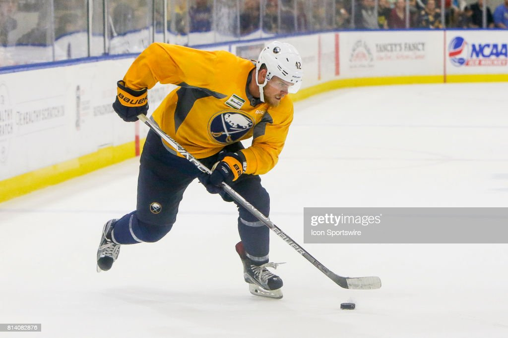 Buffalo Sabres Center Sean Malone (42) controls puck during the French Connection Tournament at the Buffalo Sabres Development Camp on July 11, 2017, at HarborCenter in Buffalo, NY.