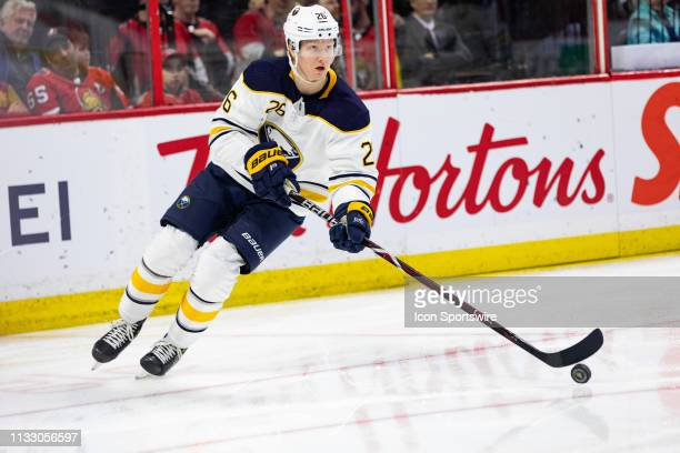 Buffalo Sabres Defenceman Rasmus Dahlin skates the puck around the net during first period National Hockey League action between the Buffalo Sabres...