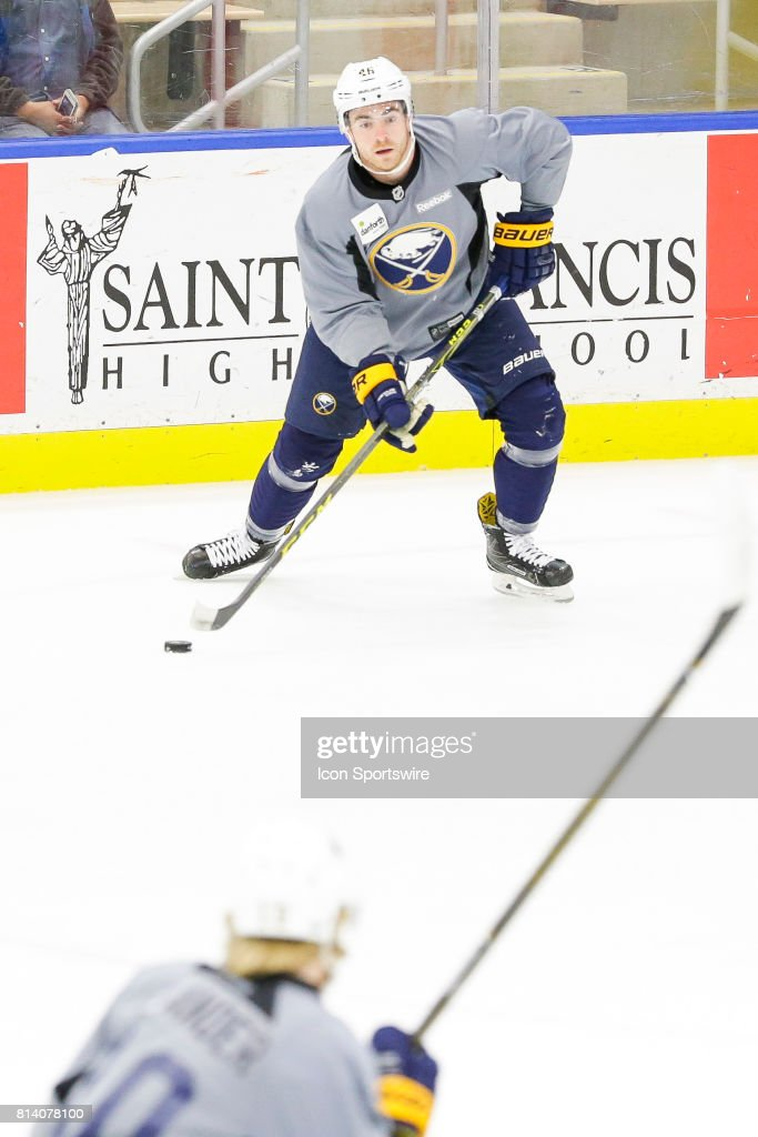 Buffalo Sabres Defenseman Anthony Florentino (46) looks for teammates during the French Connection Tournament at the Buffalo Sabres Development Camp on July 11, 2017, at HarborCenter in Buffalo, NY.