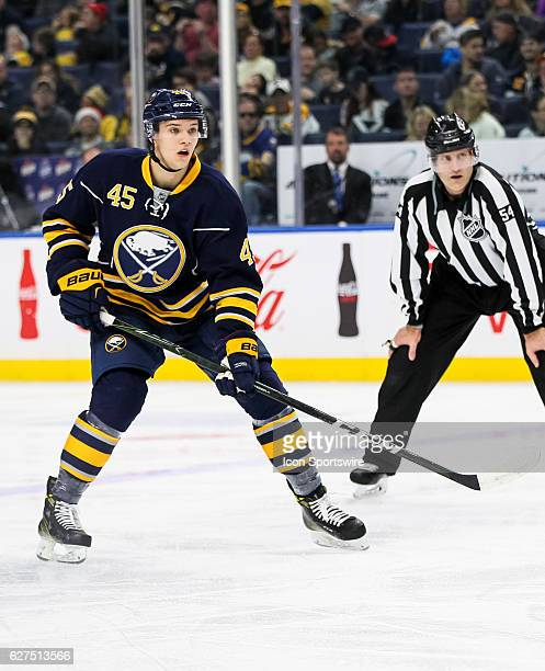 Buffalo Sabres defenseman Brendan Guhle skates after the puck during an NHL game between the Boston Bruins and Buffalo Sabres on December 03 at Key...