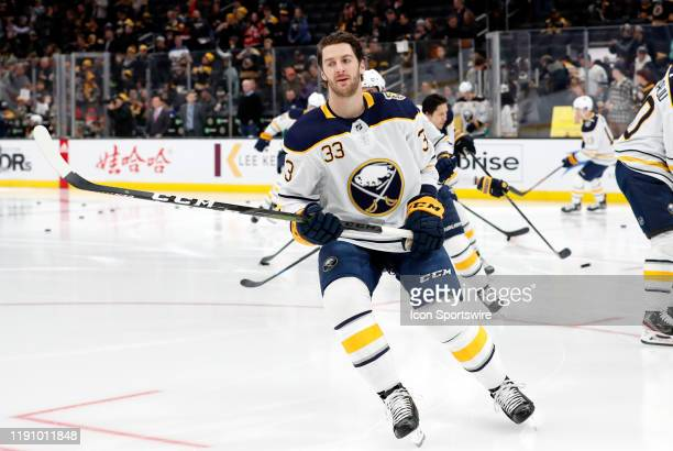 Buffalo Sabres defenseman Colin Miller in warm up before a game between the Boston Bruins and the Buffalo Sabres on December 29 at TD Garden in...