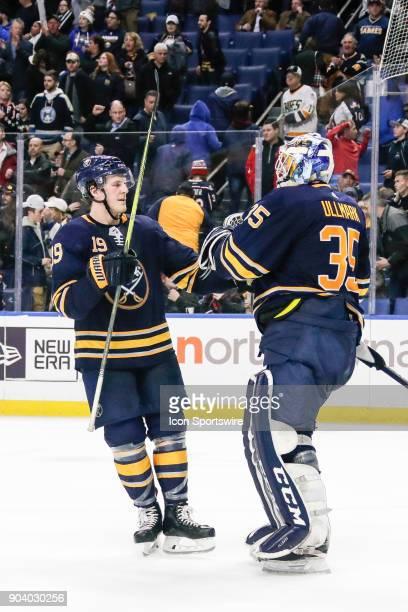 Buffalo Sabres Defenseman Jake McCabe congratulates Buffalo Sabres Goalie Linus Ullmark after winning the Columbus Blue Jackets and Buffalo Sabres...