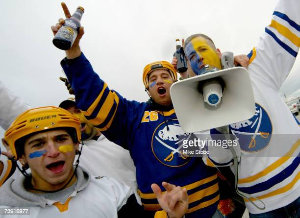 Buffalo Sabres fans cheer on their team in preparation for Game 4 of the 2007 Eastern Conference Quarterfinals against the New York Islanders on...