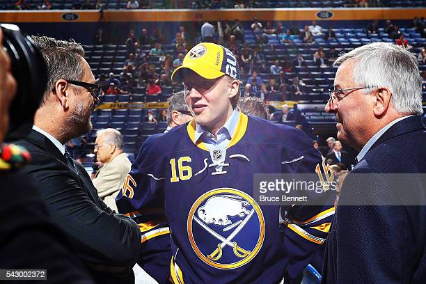 Buffalo Sabres first round draft pick Alexander Nylander celebrates with owner Terry Pegula during the 2016 NHL Draft on June 25 2016 in Buffalo New...