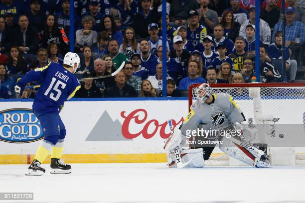Buffalo Sabres forward Jack Eichel scores on Washington Capitals goalie Braden Holtby during the 2018 NHL AllStar Game between the Metropolitan...