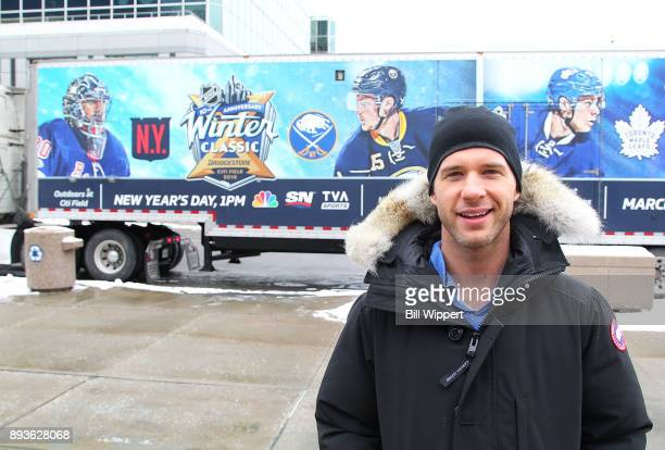 Buffalo Sabres forward Jason Pominville poses for a photo as the 2018 Bridgestone NHL Winter Classic Ice Plant makes a stop on December 15 2017 at...
