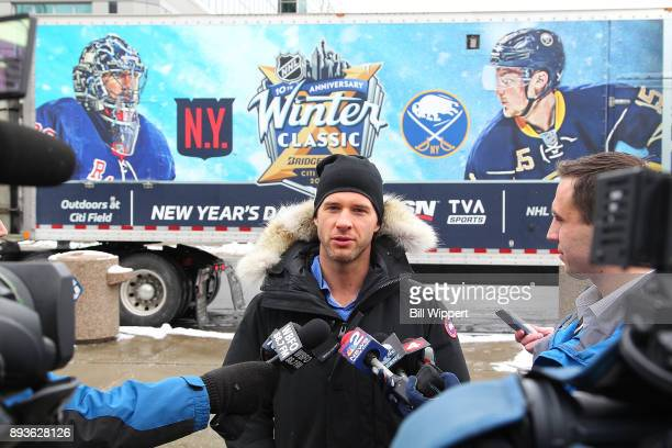 Buffalo Sabres forward Jason Pominville speaks to media as the 2018 Bridgestone NHL Winter Classic Ice Plant makes a stop on December 15 2017 at...