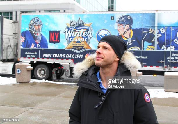 Buffalo Sabres forward Jason Pominville walks past as the 2018 Bridgestone NHL Winter Classic Ice Plant makes a stop on December 15 2017 at KeyBank...